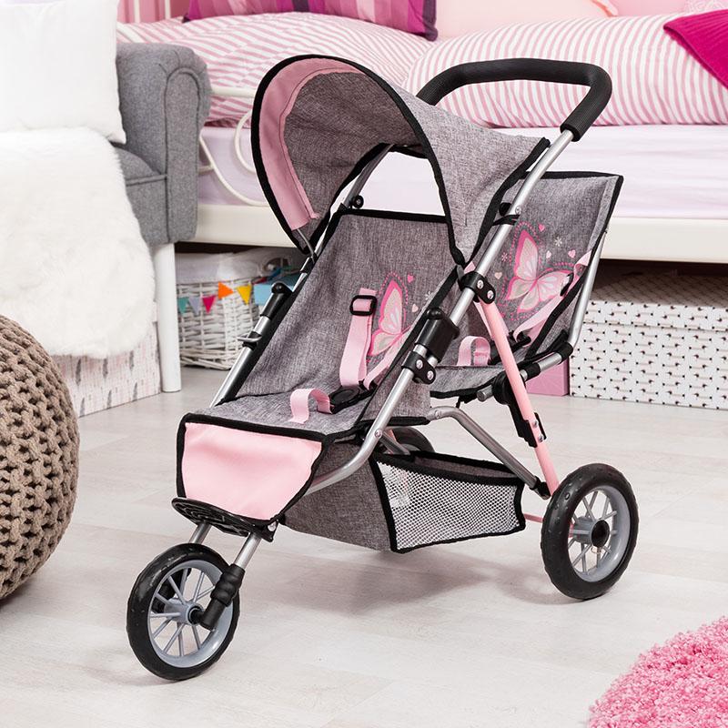 Podwójny wózek dla lalek