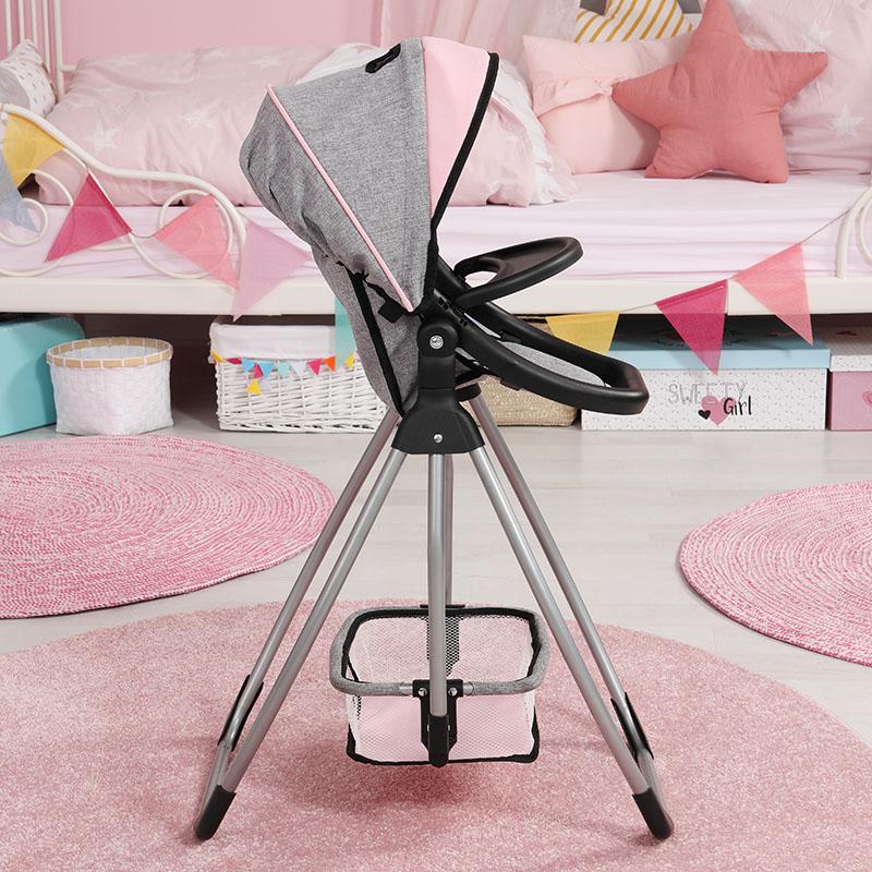 Krzesełko dla lalki z koszem na zakupy jako miejscem do przechowywania