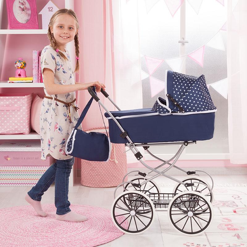 Puppenwagen Classic Deluxe hat leicht laufende Räder