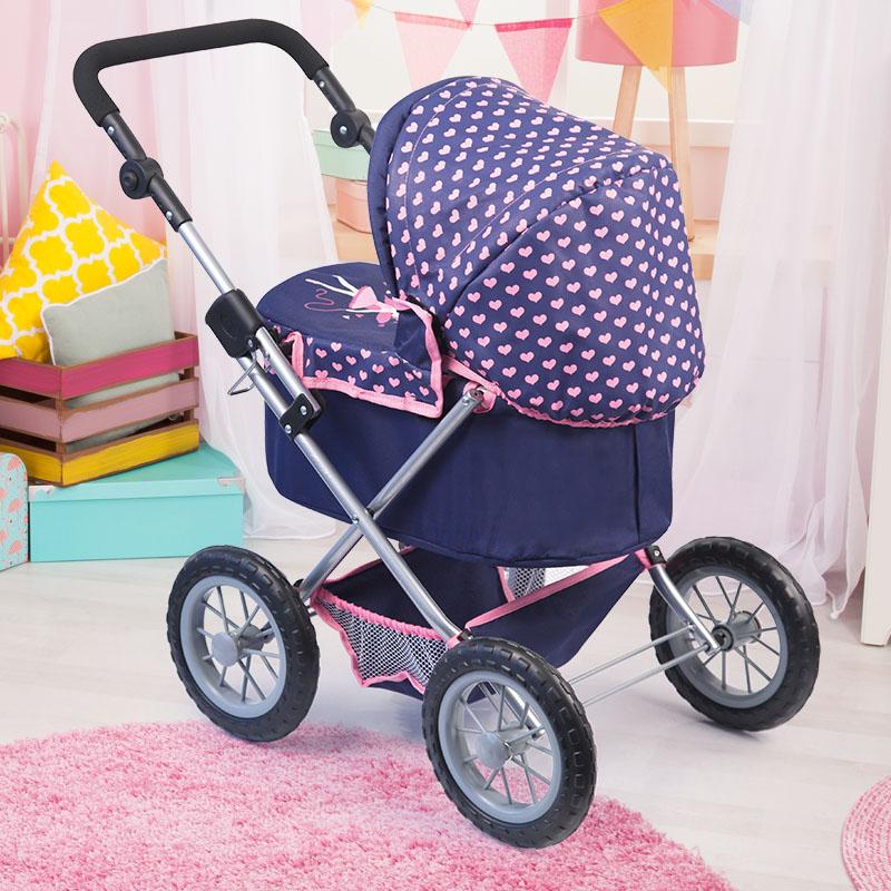 Puppenwagen Trendy dunkelblau mit weichen Leichtlaufrädern