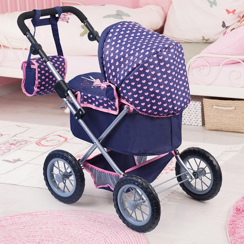 Puppenwagen Trendy dunkelblau mit praktischem Einkaufskorb