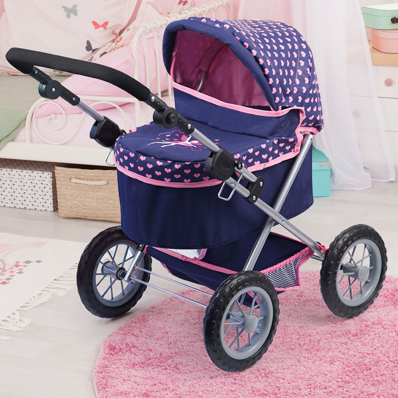 Puppenwagen Trendy in dunkelblau mit Einkaufskorb