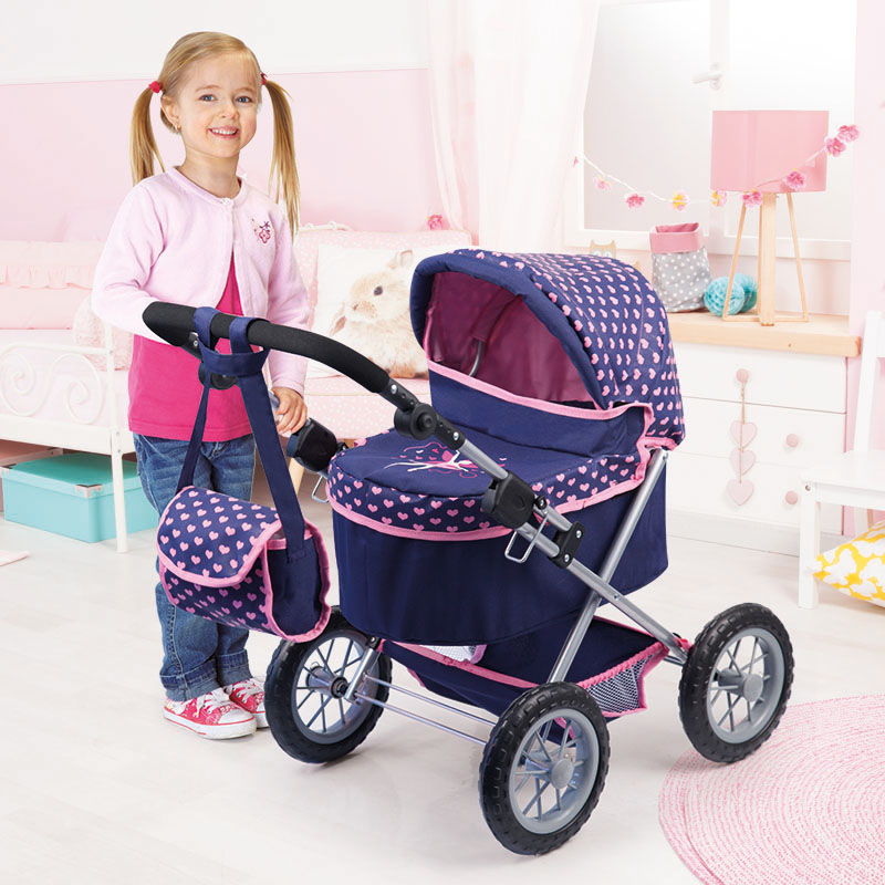 Puppenwagen Trendy dunkelblau mit höhenverstellbarem Griff