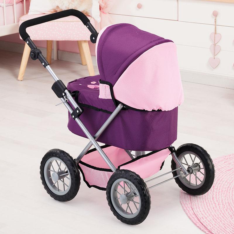 Puppenwagen Trendy lila mit weichen Leichtlaufrädern