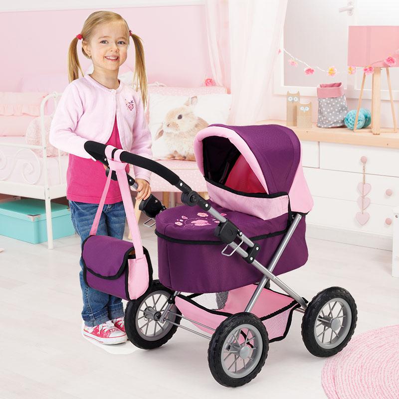 Puppenwagen Trendy lila mit höhenverstellbarem Griff