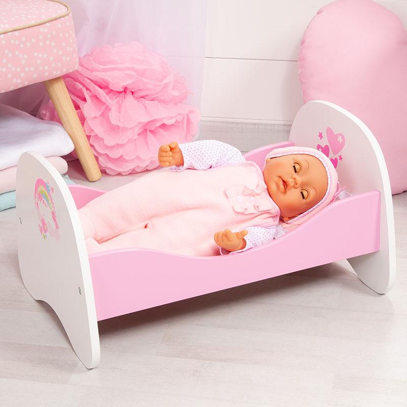 Bett für Puppen bis 46cm mit Einhornmotiv