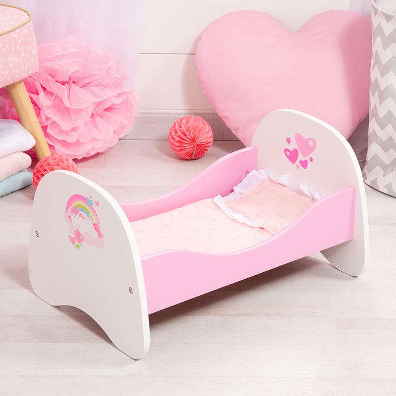 Puppenbett mit Einhornmotiv