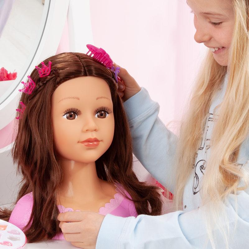 Charlene Super Model Frisierkopf mit langen dunklen Haaren