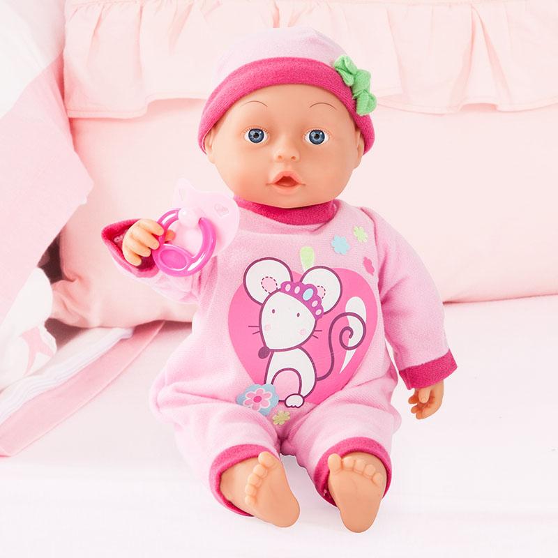 First Words Baby Puppe mit Strampler und Mütze