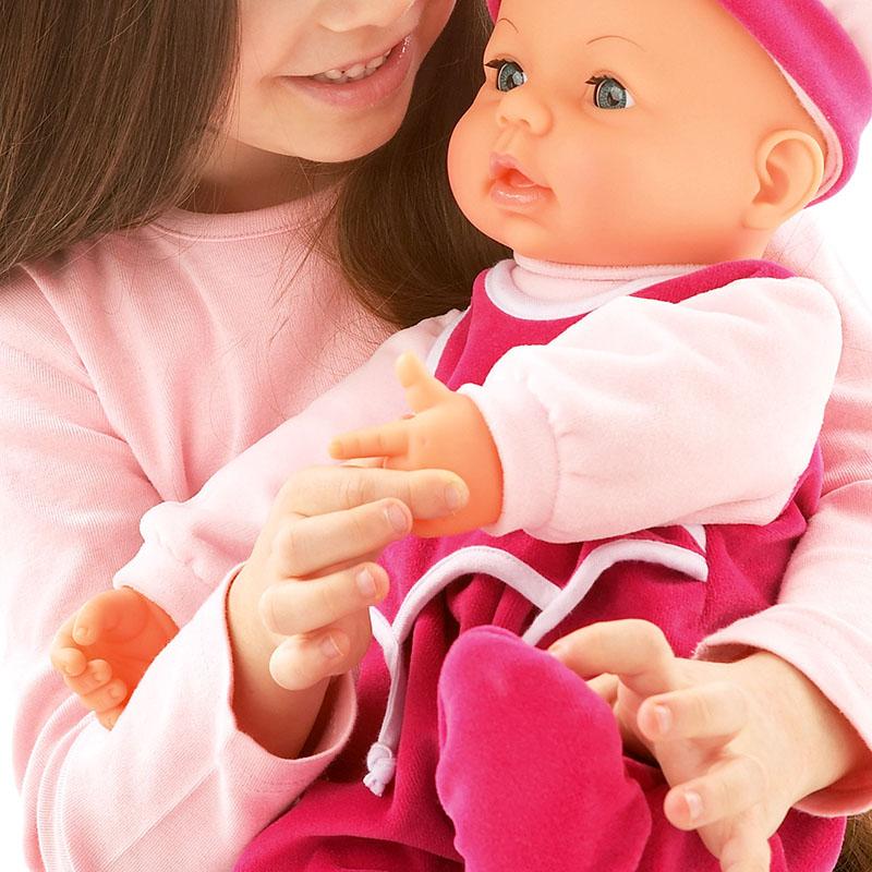 Drücke die linke Hand von Hello Baby und sie sagt Mama
