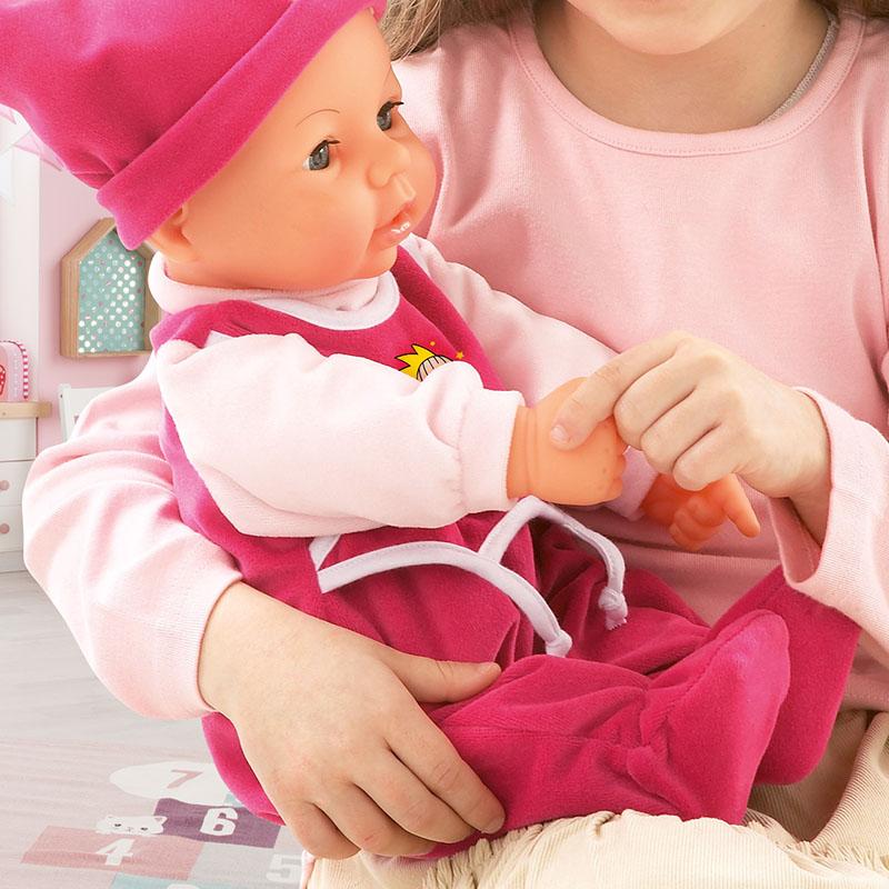 Drücke die rechte Hand von Hello Baby und sie sagt Papa
