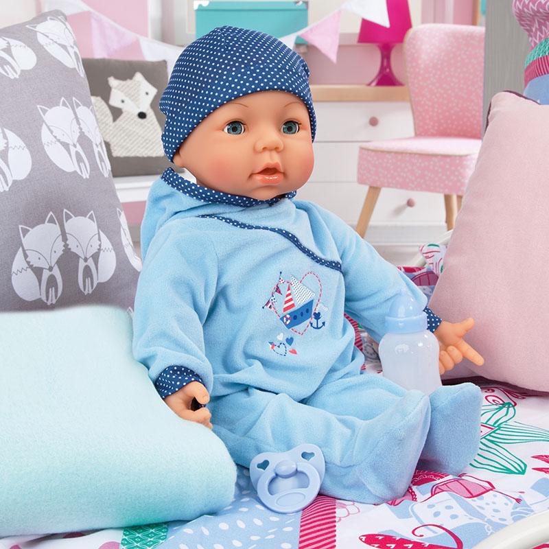 Hello Baby Boy mit Fläschchen und Schnuller