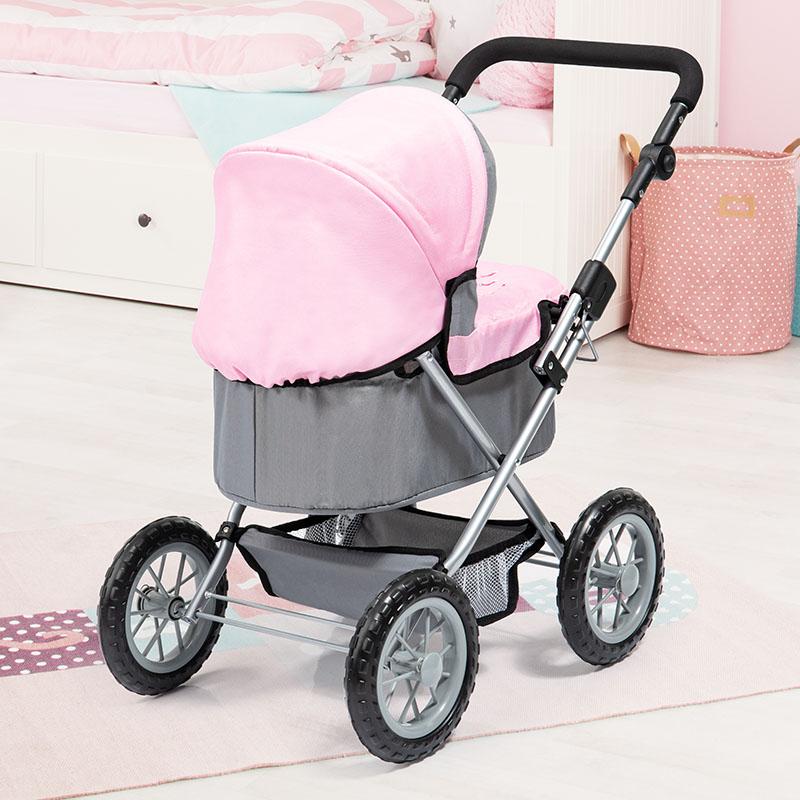 Puppenwagen Trendy lila mit praktischem Einkaufskorb