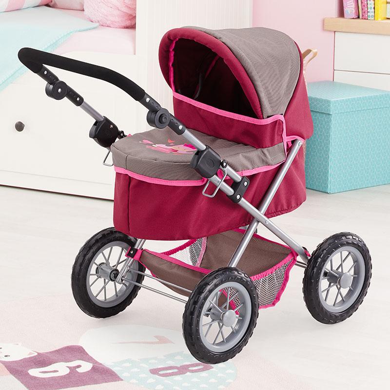 Puppenwagen Trendy in lila mit Einkaufskorb