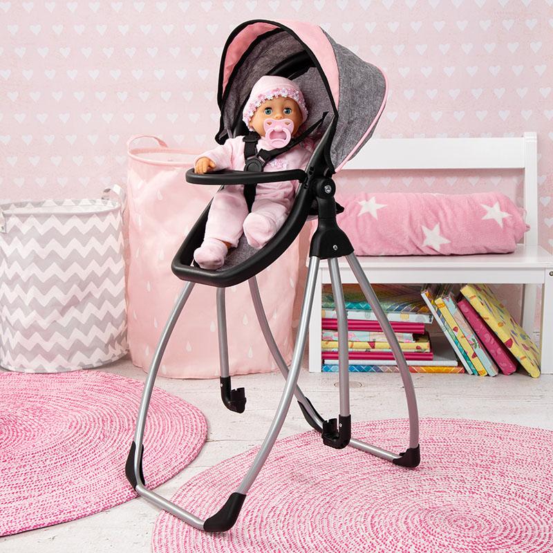 Puppenhochstuhl mit zauberhaften Design.