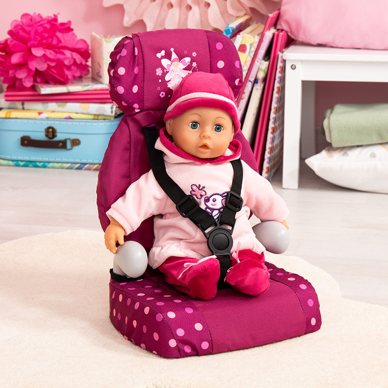 Puppen-Autositz mit Gurt.