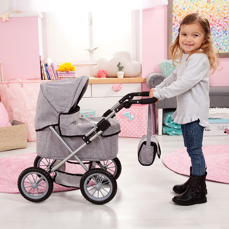 Doll pram Trendy red with height adjustable handle