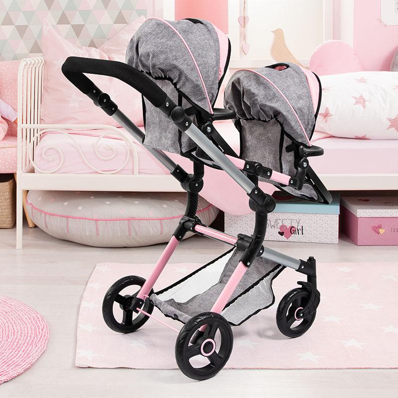 Zwillings-Puppenwagen Twin Neo mit großem Einkaufskorb