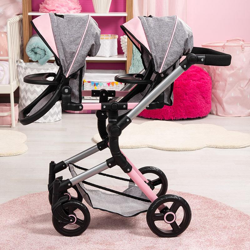 Zwillings-Puppenwagen Twin Neo mit verstellbarem Griff